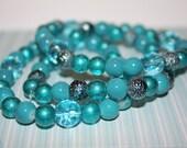 Set BOLD Blues Textures Metallic Glass Bracelets