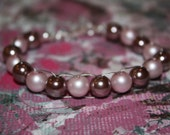 """6 1/2"""" SUSPENSION Bracelet Heavy Mauve Pearl and Mat Pink Pearl"""