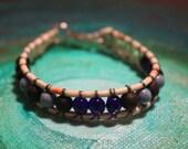 "CLEARANCE 6 1/2"" Genuine Gemstone and Sea Glass Blues Greens Bracelet"