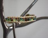 "7 1/4"" Gold Metallic Leather Earth Tone Bead Bracelet"