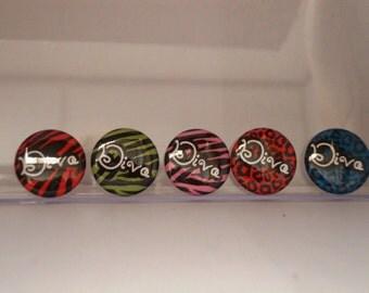 Diva Animal Print 1 inch Pinback Flatback Flair Badge Magnet or Button set of 10