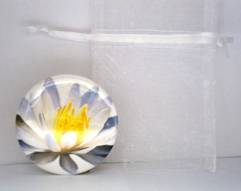 Water Lily White Flower Pocket Mirror Purse Mirror Cosmetic Mirror 2 1/4 inch