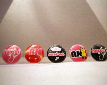 Nursing, RN, Pinback, Flatback Button, Badge or Flair set of 10