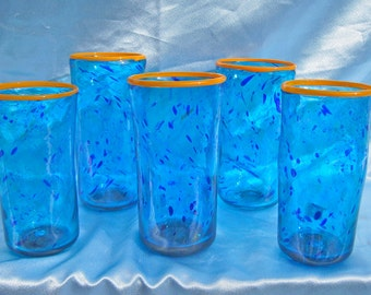 Hand blown blue drinking glasses set of 4