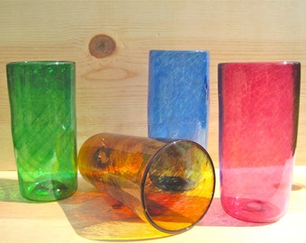 Set of 4 colorful drinking glasses