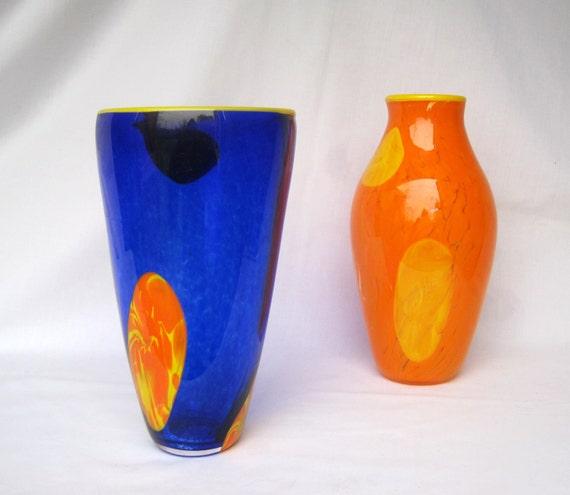 Hand blown glass vase, blue and orange set