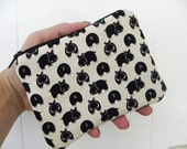 Hippos Small zipper accessory pouch-Black and Natural