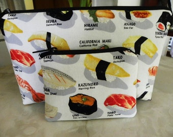 Sale-Cosmetic Bag/Coin Purse Large zipper Sushi Please