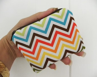 Sale-Coin purse zipper/accessory pouch Michael Miller Remix zig zag