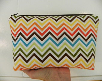 Cosmetic Bag  Large zipper Cosmetic/accessory Pouch-Michael Miller Chevron Remix