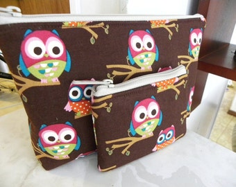 Sale-Owls Large zipper Cosmetic/accessory with coin pouch-New