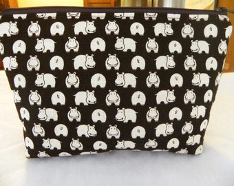 Hippos Large zipper Cosmetic pouch-Flat Bottom-Black