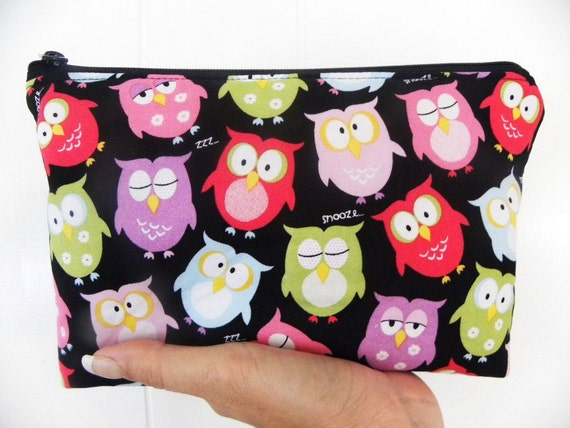 Owls Cosmetic Bag Large zipper Cosmetic/accessory Pouch