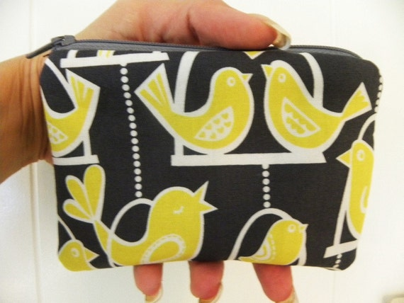 Coin purse Small zipper Michael Miller Citron Gray coin/accessory pouch