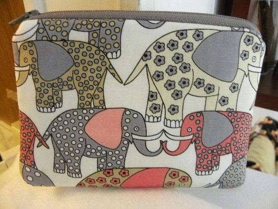 Elephants- Small zipper accessory pouch