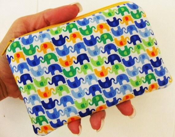 Mini Elephants Small zipper accessory pouch