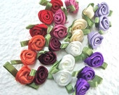 24 Small Roses Satin Ribbon w/ leaf