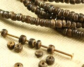 110 Coco Beads 2mm x 3mm Round tiny little Brown Natural Beads BOHO