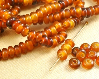 30 Horn Bone Beads 7mm Round Donut Spacers Golden Amber Horn Large Hole Natural Beads
