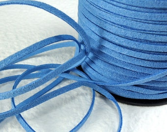 6yds  Faux Suede leather Micro Fiber Blue Jewelry Cord Denim Blue Lace 3mm x 1.5mm