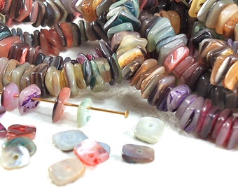 130 Shell Beads Multicolor Dyed Heishi Square 15 inches 5mm - 7mm Natural Beads