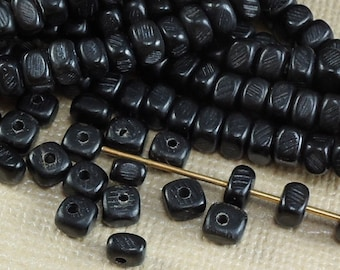 40 Horn Black Beads 6mm 5mm x 4mm 3mm Nuggets Square Natural Beads
