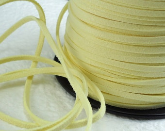 6yds Faux Suede leather Micro Fiber Yellow Craft Jewelry Cord Lace 3mm x 1.5mm Bracelet cord Necklace cord