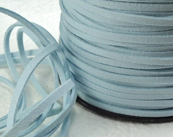 6yds Faux Suede leather Micro Fiber Blue Jewelry Cord Light Blue Lace 3mm x 1.5mm Necklace cord