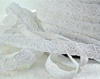 5yds White Elastic Lace Trim 1/2 inch Stretch Lace Headbands lingerie lace Bra elastic