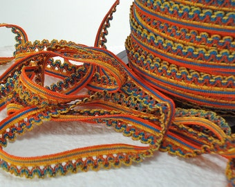 5 yds Elastic Lace Trim Edging Rick Rack 1/2 inch Single Side Multi color Orange Yellow Blue Elastic By The Yard
