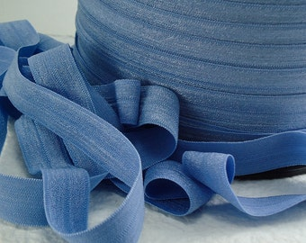 5yds Elastic Ribbon Headbands Ponytail Bands Blue 5/8 inch 15mm Fold over Bands Stretch Trim DM2