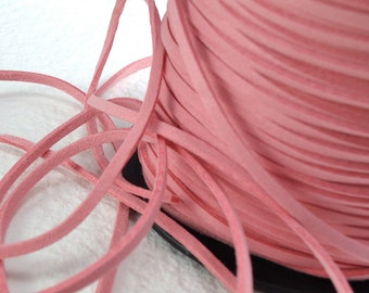 6yds Faux Suede leather Micro Fiber Jewelry Cord Rose Pink Lace 3mm x 1.5mm