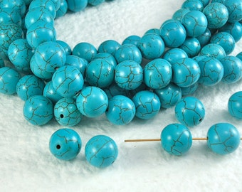 10 Stone Beads Real Howlite Turquoise 10mm Round with Dark Brown Veins Natural Beads