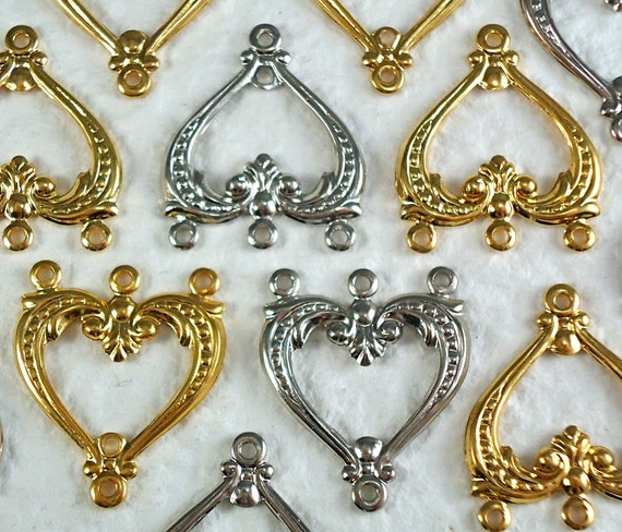 4 Pendant Connector Bail 3 ring vintage metal stampings for Bracelets Earrings 22mm x 19mm Gold plated and Nickel Silver plated brass