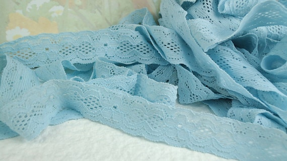 5yds Elastic Blue Lace Ribbon Wide Stretch Trim 3/4 inch 19mm for baby headbands, lingerie edging