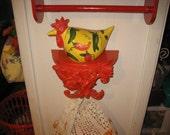vintage ceramic chicken towel holder