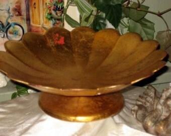 vintage gold leaf display bowl