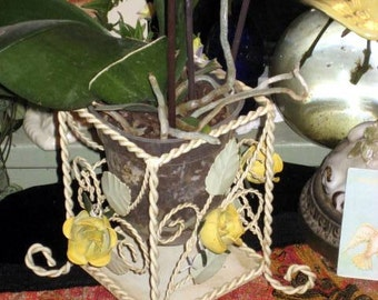 tole redone plant or candle holder