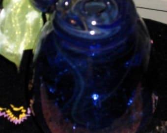 BOHO handmade blown glass blue swirl design vase