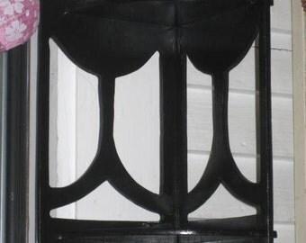 Vintage black wood corner scroll shelf