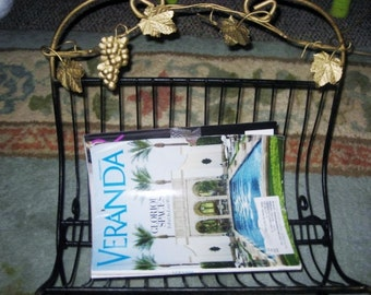 Hollywood regency chinoiserie Black and gold tole magazine and wood or towel rack