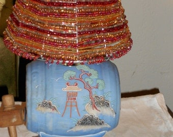 Vintage Chinoiserie Moriage sake decanter lamp and beaded shade
