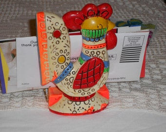 Vintage retro BoHo rooster napkin holder