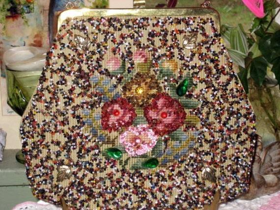 "vintage handmade beaded purse by ""Soure' bag"""
