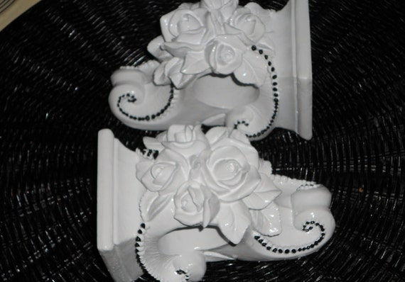 Two refurbished shabby decor shelves corbels  white roses with black dots