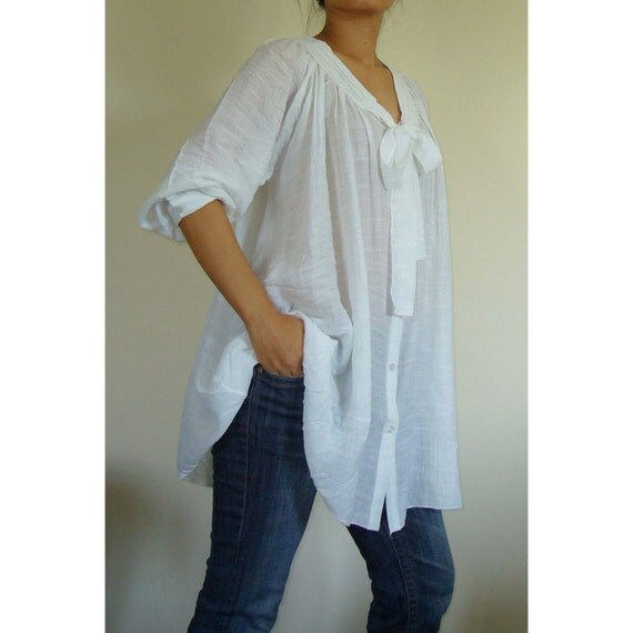 MADE TO ORDER... Chinese Silk Off-White (Cream) Oversize / Plus Size / Maternity Top 3X-4X