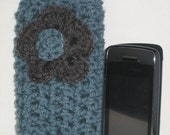 Blue Cell Phone Pouch w/ Flower Pin