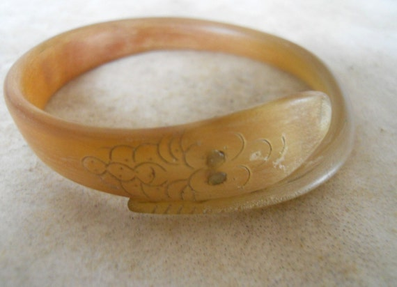 SALE !!! vintage Victorian original color HORN SNAKE bangle - bracelet - cuff. Was 80, now 60!