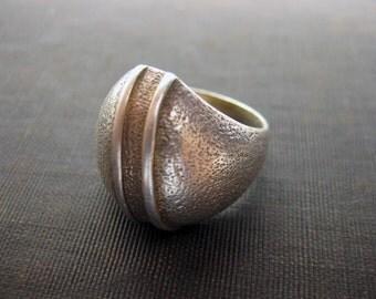 Vintage Sterling Silver Modernist Stylish 2 Lines Ring 1970s