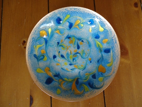 Enamel-Over-Copper Candy Dish